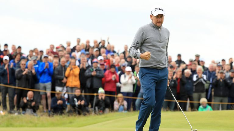 SOUTHPORT, ENGLAND - JULY 21:  Ian Poulter of England celebrates on the 9th green during the second round of the 146th Open Championship at Royal Birkdale