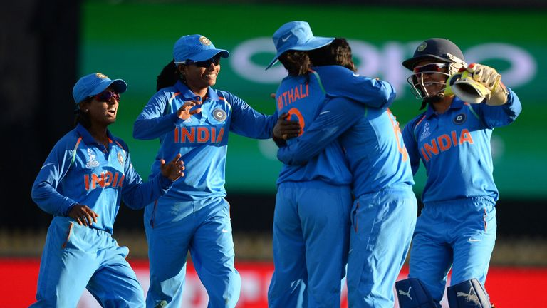 India skipper Mithali Raj (centre) celebrates with her team-mates