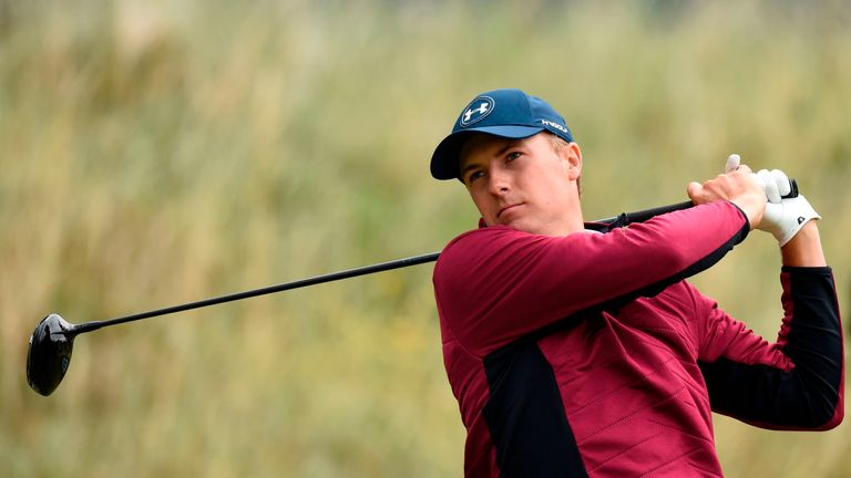 US golfer Jordan Spieth watches his drive from the 6th tee during his second round on day two of the Open Golf Championship at Royal Birkdale golf course n