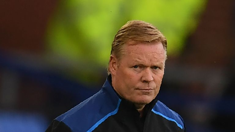 Everton's Dutch manager Ronald Koeman looks on during the UEFA Europa League third qualifying round, Game 1 match between Everton and Ruzomberok at Goodiso