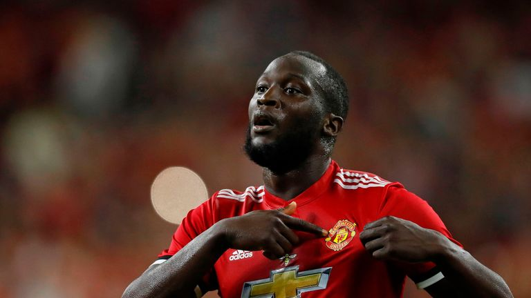Manchester United forward Romelu Lukaku celebrates after scoring a goal during the International Champions Cup soccer match against Manchester City at NRG