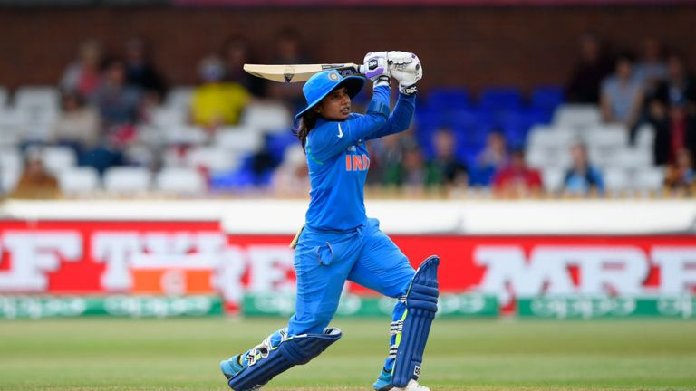 DERBY, ENGLAND - JUNE 24:  India batsman Mithali Raj hits out during the ICC Women's World Cup 2017 match between England and India at The 3aaa County Grou