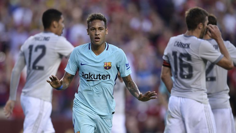 Neymar of Barcelona gestures after scoring during their International Champions Cup (ICC) football match against Manchester United on July 26, 2017 at the