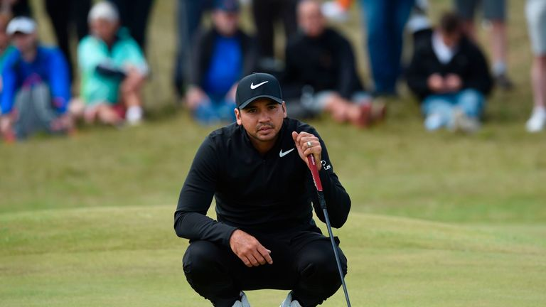 Australia's Jason Day waits to putt on the 7th green during his opening round on the first day of the Open Golf Championship at Royal Birkdale golf course