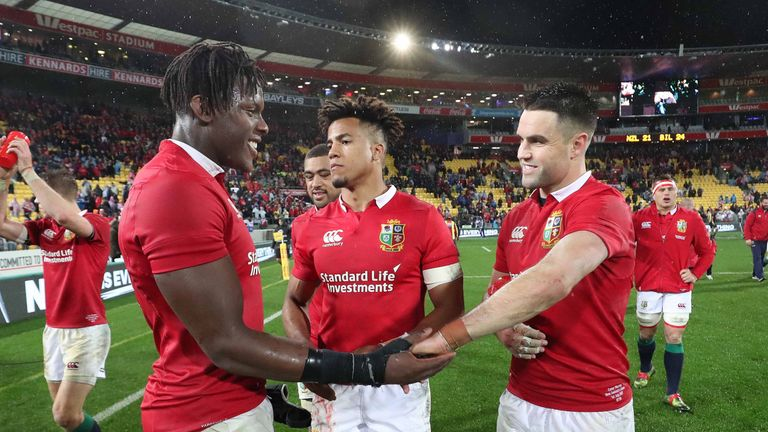 Maro Itoje, Anthony Watson and Conor Murray celebrate beating New Zealand in the second Test