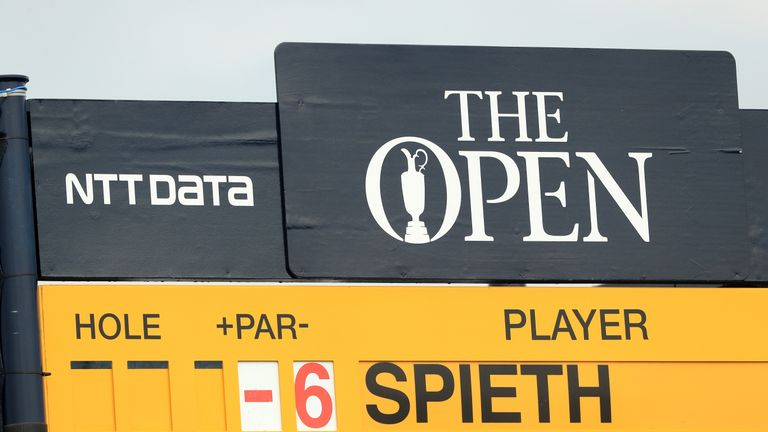 Jordan Spieth of the United States tops the leaderboard at the start of the third round of the 146th Open Championship at Royal Birkdale