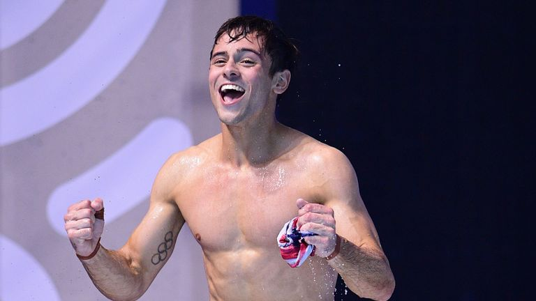 Great Britain's Tom Daley celebrates after winning the Men's 10m platform final at World Championships in Budapest