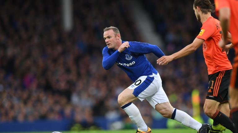 Everton's English striker Wayne Rooney pursues the ball during the UEFA Europa League third qualifying round, Game 1 match between Everton and Ruzomberok a