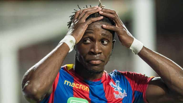 HONG KONG, HONG KONG - JULY 19: Crystal Palace midfielder Wilfried Zaha reacts during the Premier League Asia Trophy match between Liverpool FC and Crystal