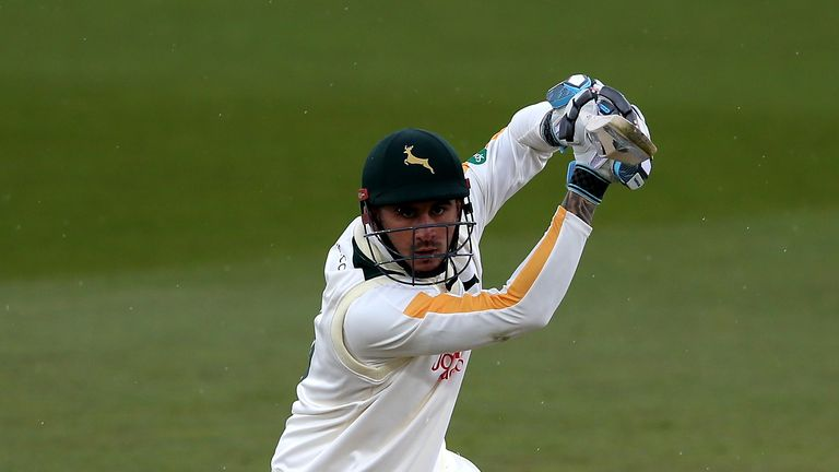 Alex Hales smashed a run-a-ball 218 for Nottinghamshire against Derbyshire