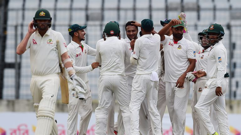 Shakib Al Hasan celebrates on his way to five first-innings wickets