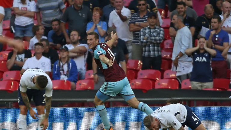 Chris Wood celebrates his equaliser at Wembley