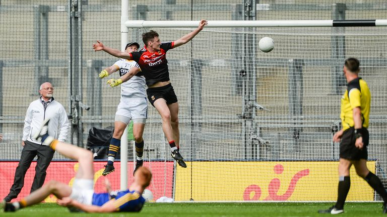Diarmuid O'Connor of Mayo scores a goal against Kerry