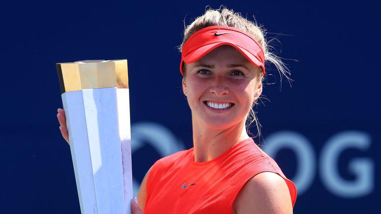 Elina Svitolina celebrates after beating Caroline Wozniacki in the Toronto final