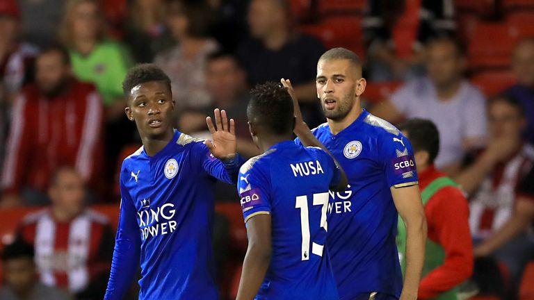 Demarai Gray celebrates scoring Leicester's first goal of the night