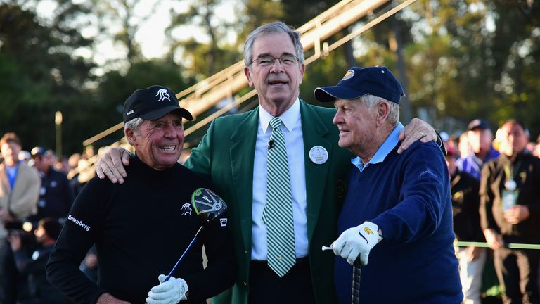 Gary Player (L) and Jack Nicklaus (R) with Billy Payne at Augusta
