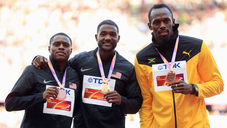 Justin Gatlin (centre) is omitted from the IAAF's World Athlete of the Year top-10