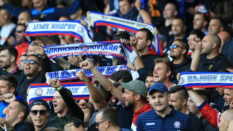 Everton's Europa League tie against Hajduk Split stopped after crowd trouble