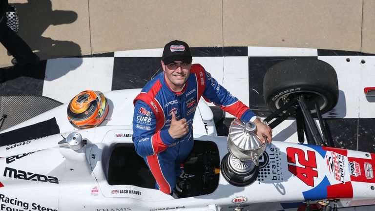 Jack Harvey won the Indy 500 support race, the Freedom 100, with Schmidt Peterson Motorsports