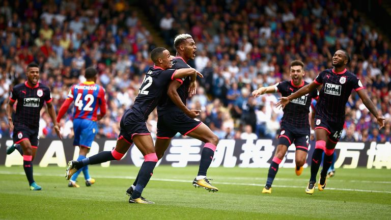 Steve Mounie celebrates after scoring Huddersfield's second at Selhurst Park