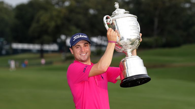 Justin Thomas  poses with the Wanamaker Trophy after winning the PGA Championship