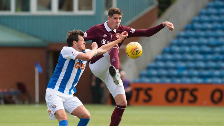 Hearts narrowly beat Kilmarnock in a match which featured two red cards