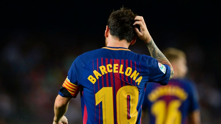 Messi was left scratching his head after hitting the post three times