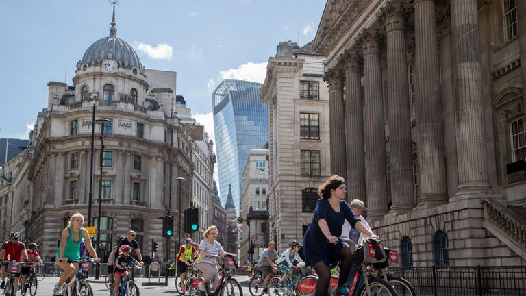 Riders cycle through closed central London roads