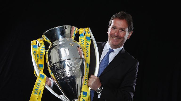 Mark McCafferty with the Premiership Rugby trophy