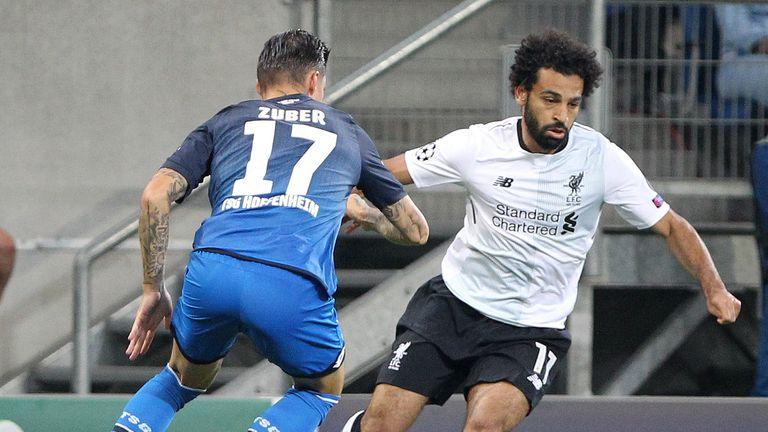 Mo Salah takes on Hoffenheim's Steven Zuber
