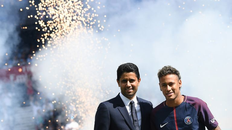 Nasser Al-Khelaifi (left) is president of Paris Saint-Germain