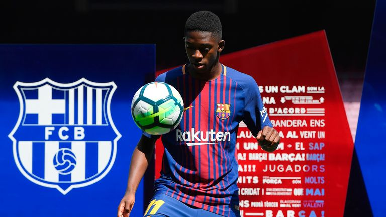 Dembele demonstrates his skills during an official presentation at the Nou Camp