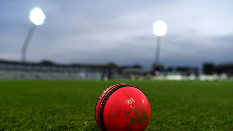 The pink Dukes ball lies on the ground during an England net session at Edgbaston