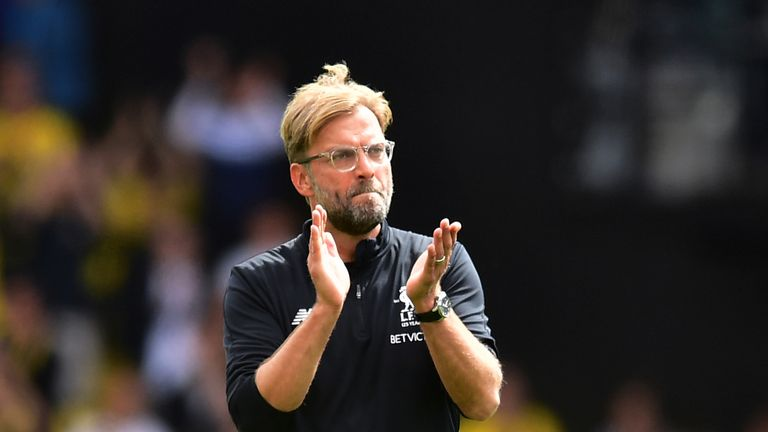 Jurgen Klopp applauds the fans the 3-3 draw at Watford on Saturday