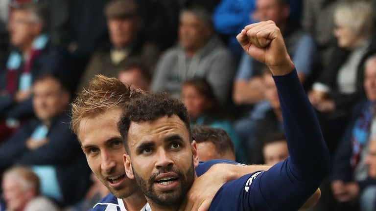 Hal Robson-Kanu celebrates his goal at Burnley with West Brom team-mate Craig Dawson