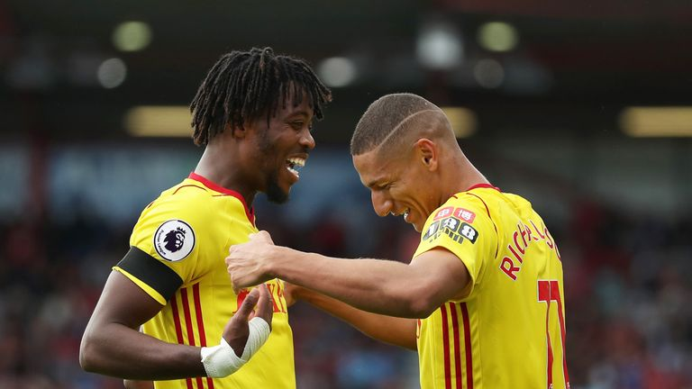 Richarlison de Andrade celebrates his goal with Nathaniel Chalobah