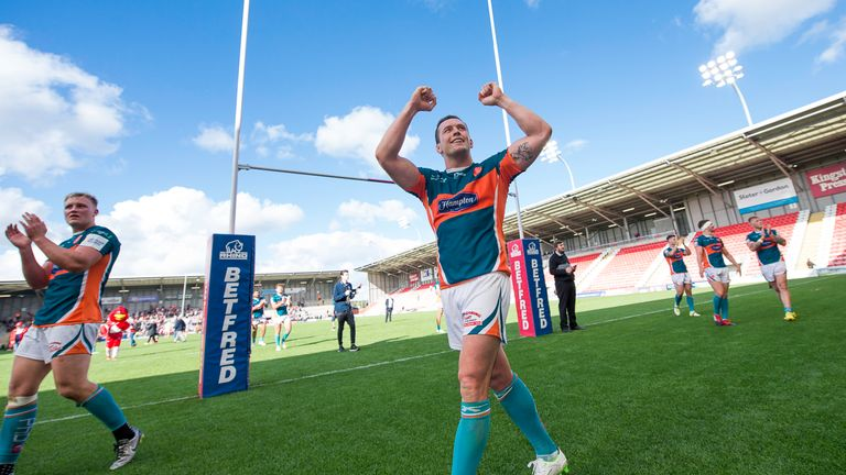 Hull KR captain Shaun Lunt celebrates their win over Leigh in the Qualifiers