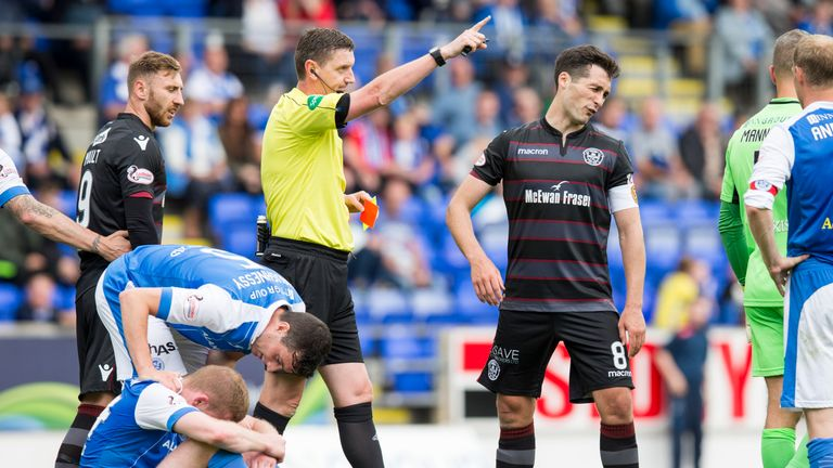 Carl McHugh was one of three Motherwell players sent off against St Johnstone