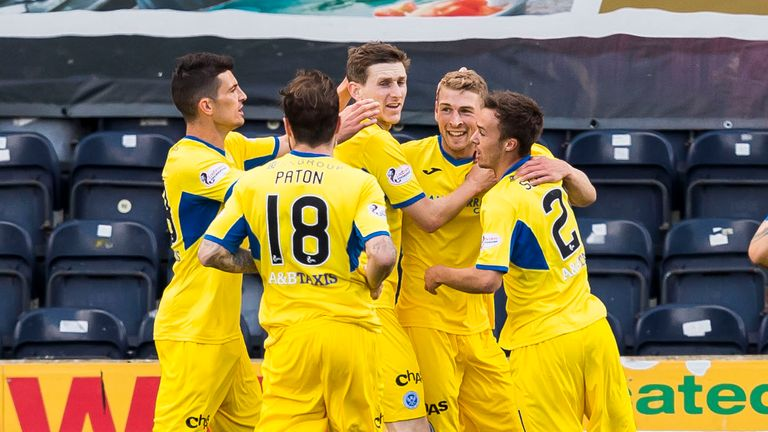 Wotherspoon (2nd right) celebrates his goal at Rugby Park