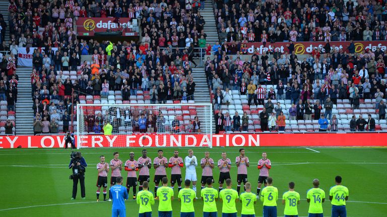 Both sets of teams and supporters paid tribute to Bradley Lowery before kick-off