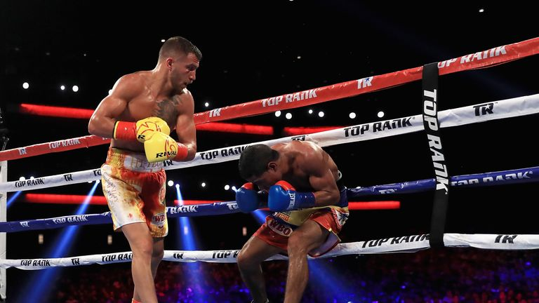 Lomachenko had Marriaga down twice before the Colombian's corner withdrew their fighter after seven rounds