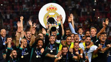 Sergio Ramos lifts the Super Cup after Real Madrid beat Manchester United 2-1 in Macedonia