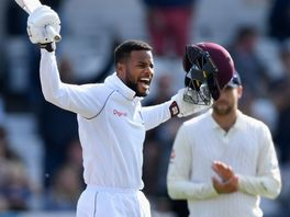 Shai Hope celebrates reaching his maiden Test century