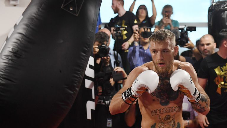 LAS VEGAS, NV - AUGUST 11:  UFC lightweight champion Conor McGregor hits a heavy bag during a media workout at the UFC Performance Institute on August 11,