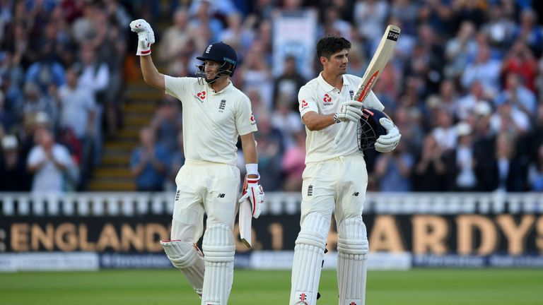 Alastair Cook celebrates after reaching his 31st Test century