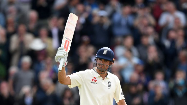 Alastair Cook celebrates his double century against the Windies