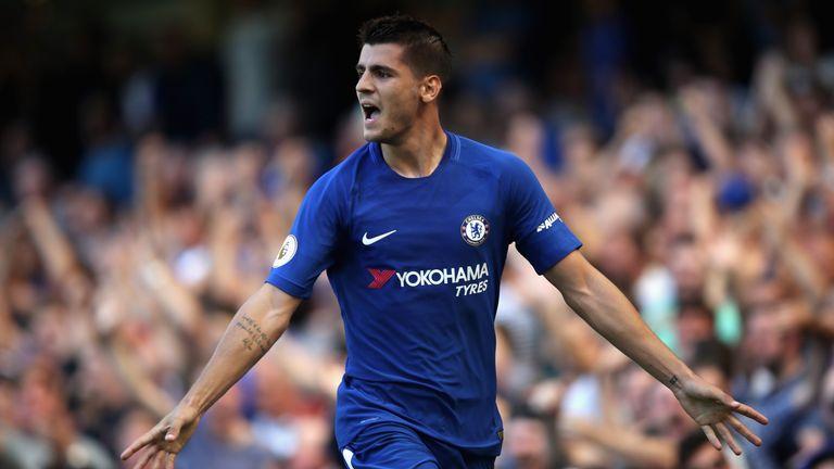 Alvaro Morata celebrates scoring Chelsea's second goal