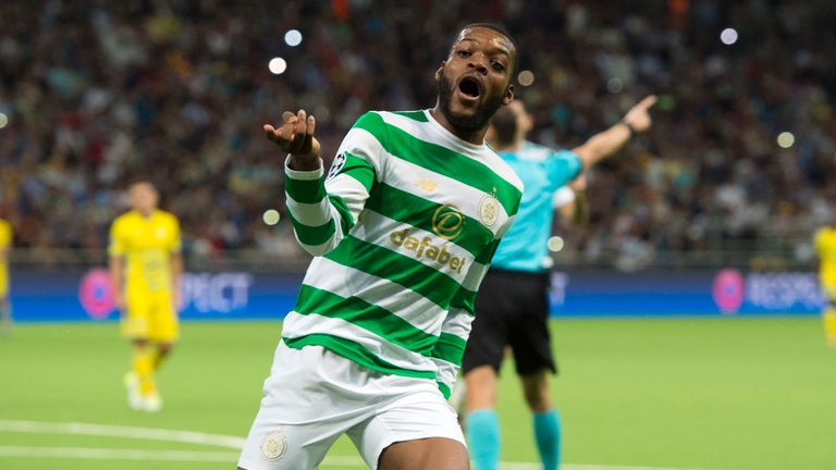 22/08/17 UEFA CHAMPIONS LEAGUE PLAY-OFF 2ND LEG. FC ASTANA v CELTIC. ASTANA ARENA . Celtic's Olivier Ntcham celebrates his goal