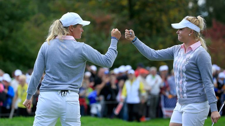 during the morning foursomes matches in the 2015 Solheim Cup at St Leon-Rot Golf Club on September 19, 2015 in Sankt Leon-Rot, Germany.
