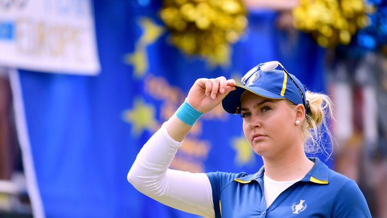 WEST DES MOINES, IA - AUGUST 20:  Charley Hull of Team Europe stands on the first tee before her match against Brittany Lang of Team USA during the final d